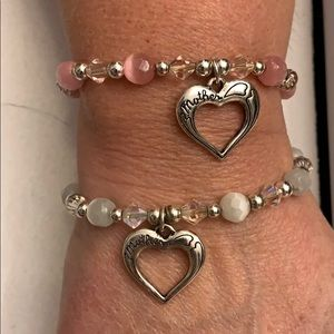 Heart Charm Bracelet Set of 2